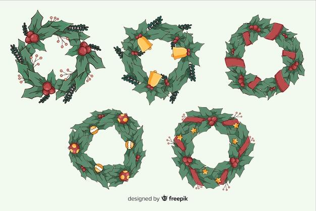 手描きクリスマスリースコレクション 無料ベクター