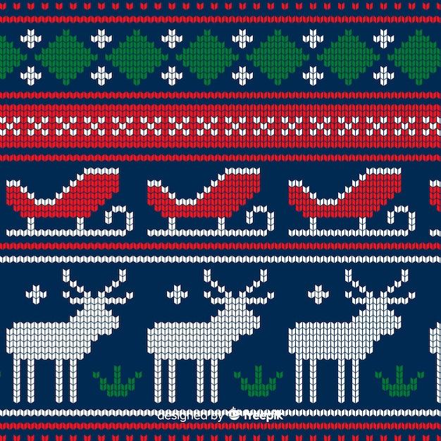 Красочный вязаный рождественский узор Бесплатные векторы