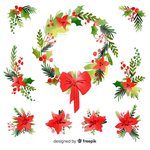 水彩クリスマスフラワー&リースコレクション 無料ベクター
