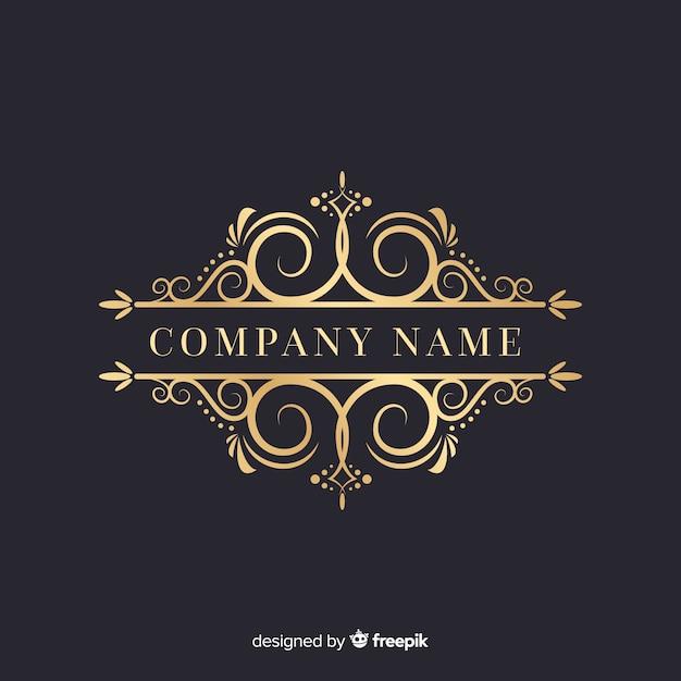 Роскошный декоративный логотип с названием компании Бесплатные векторы