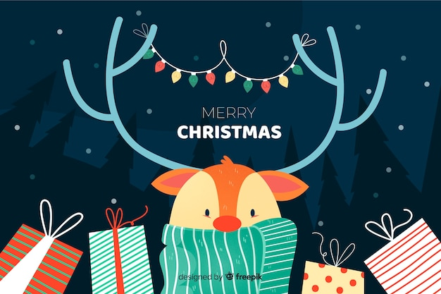 手描きのクリスマス背景 無料ベクター