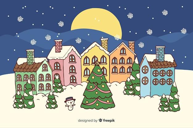 Рождественский городок в рисованной Бесплатные векторы