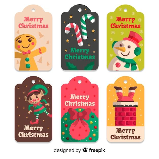 フラットなデザインのクリスマスバッジコレクション 無料ベクター