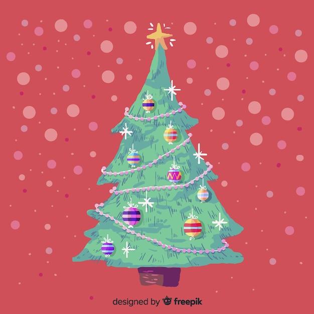 美しい水彩画のクリスマスツリー 無料ベクター