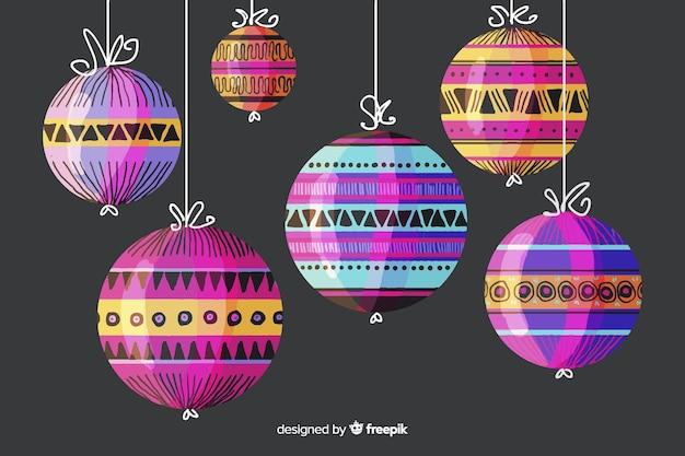 カラフルな水彩クリスマスボール 無料ベクター
