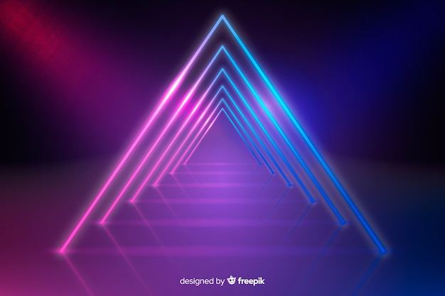 幾何学的なネオンの背景 無料ベクター