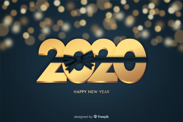 Золотой новый год красивый фон Бесплатные векторы