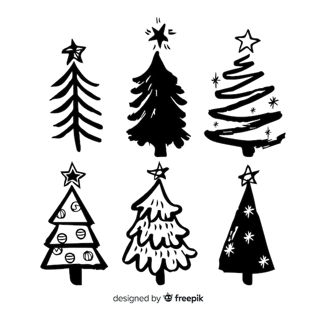 スケッチクリスマスツリーコレクション 無料ベクター