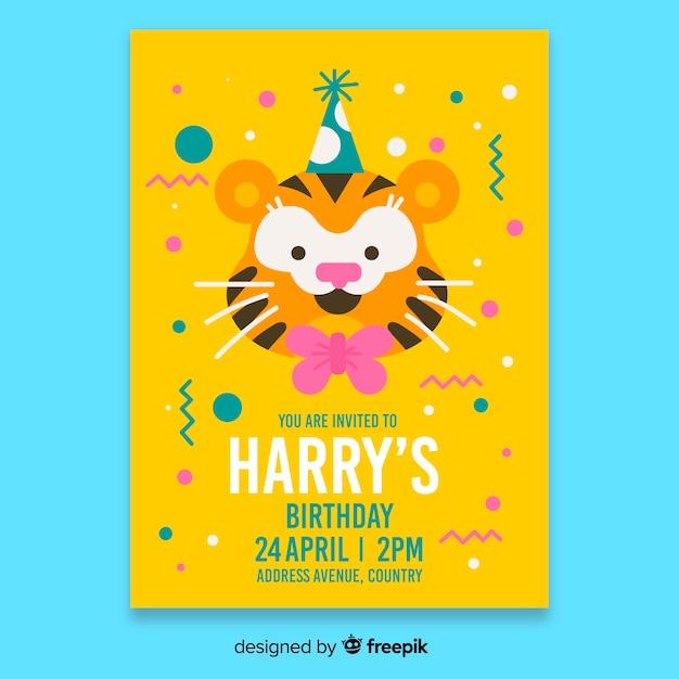 黄色の子供の誕生日の招待状のテンプレート 無料ベクター
