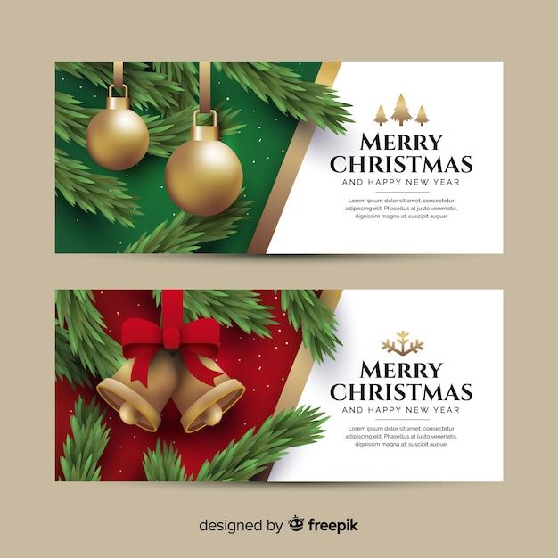 クリスマスボールと鐘とフラットクリスマスバナー 無料ベクター