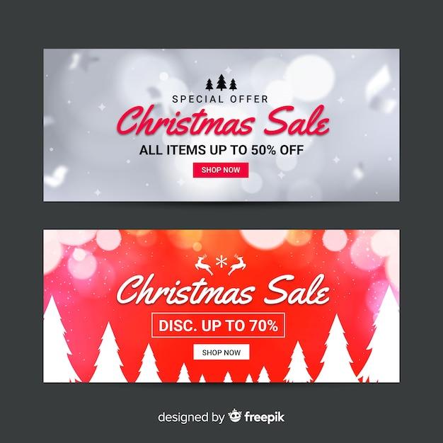 Размытые рождественские продажи баннеров Бесплатные векторы