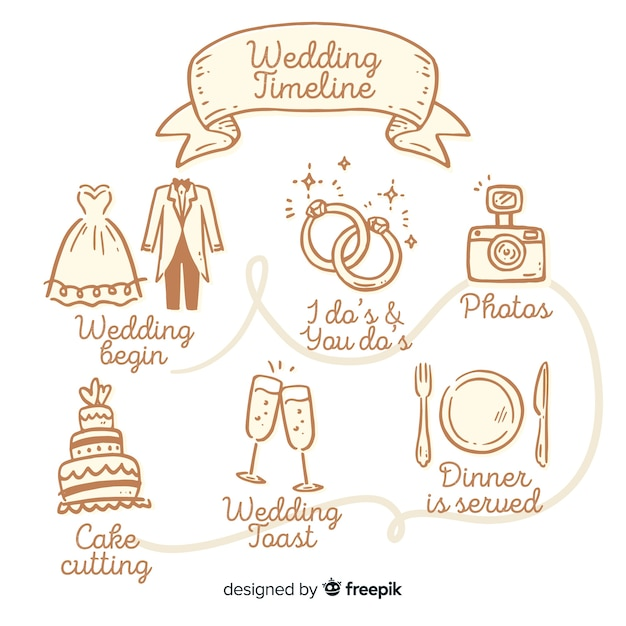 Симпатичные рисованной график свадьбы Бесплатные векторы