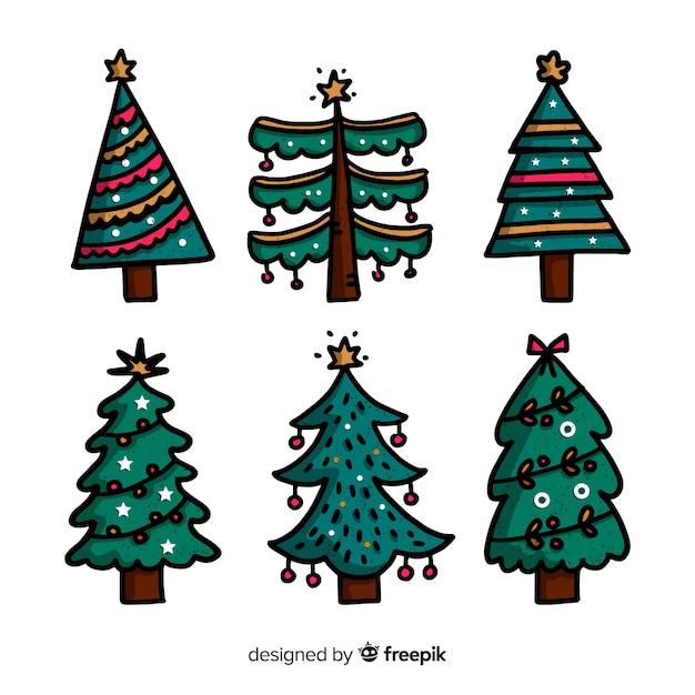 Коллекция рисованной елки Бесплатные векторы