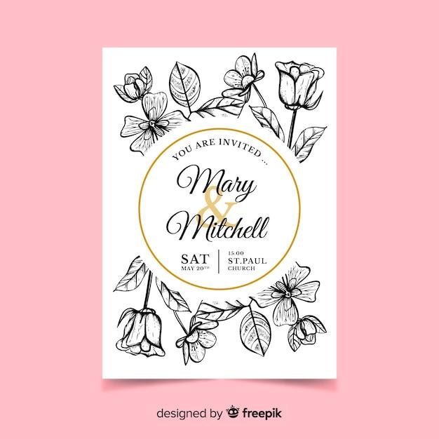 Реалистичные цветы, свадебные приглашения Бесплатные векторы