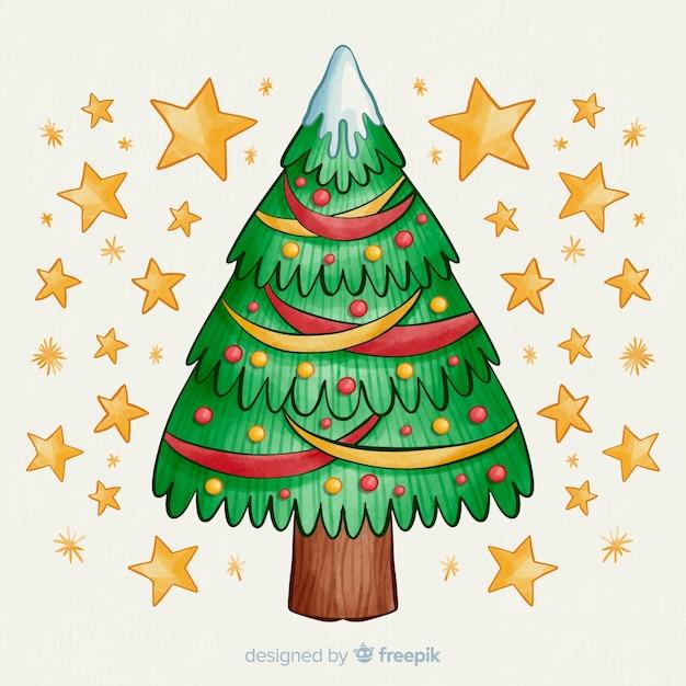 金色の星と水彩のクリスマスツリー 無料ベクター