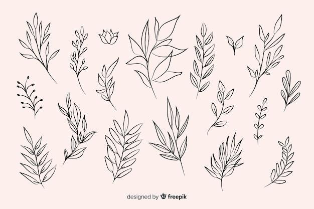 手描きの花飾りコレクション 無料ベクター