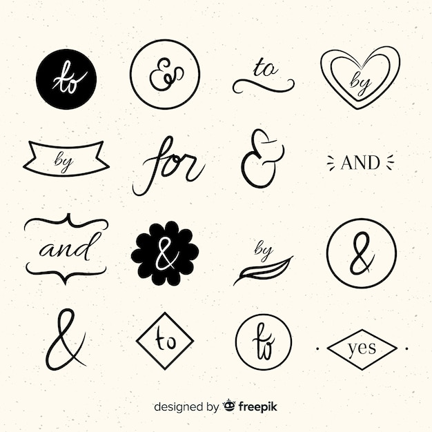 手描きの結婚式の標語のセット 無料ベクター