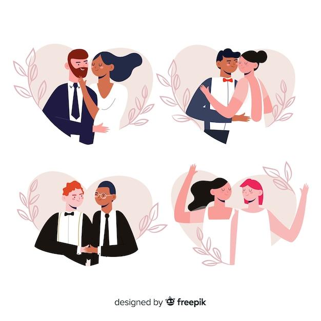 Набор рисованной свадьбы пара Бесплатные векторы
