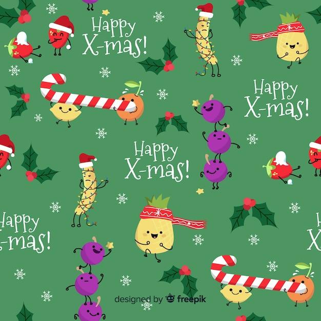 お菓子と面白いクリスマスのパターン 無料ベクター