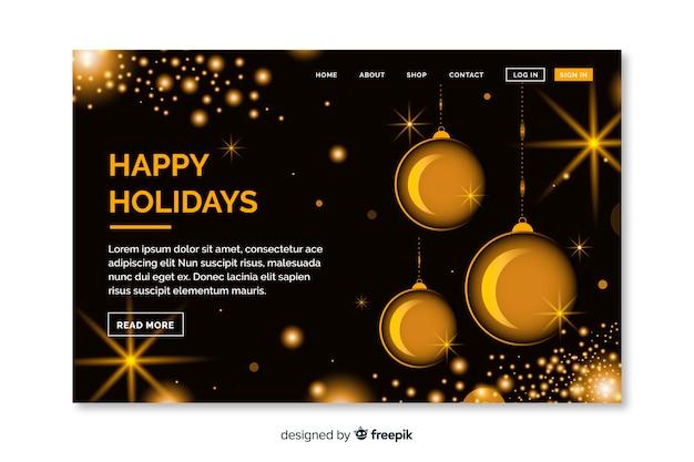 黄金の装飾品でクリスマスランディングページ 無料ベクター