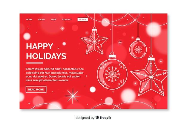クリスマスのランディングページに飾り 無料ベクター