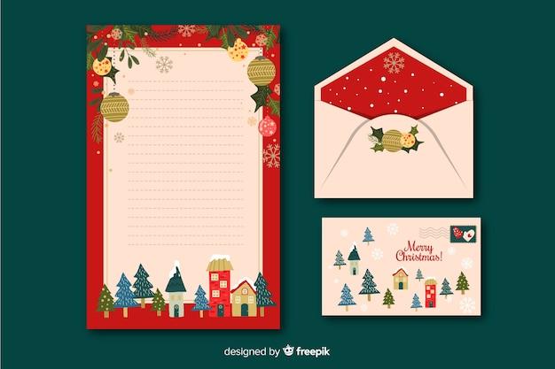 Плоский рождественский шаблон канцелярских товаров Бесплатные векторы