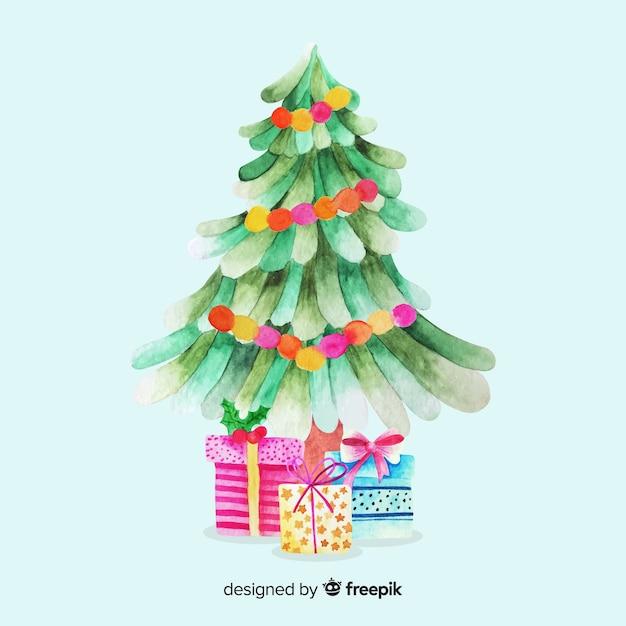 プレゼントと水彩のクリスマスツリー 無料ベクター
