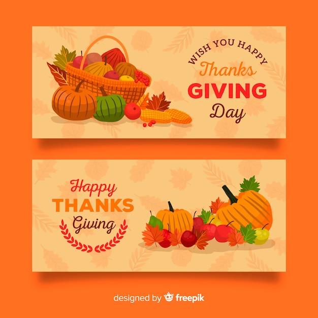Осенние овощи благодарения дизайн баннера Бесплатные векторы