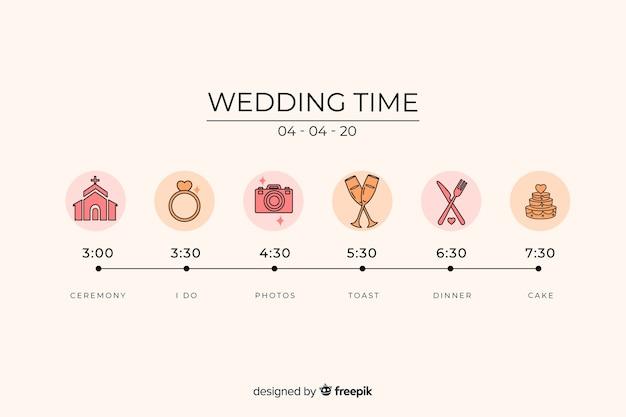 Свадебный график в линейном стиле Бесплатные векторы