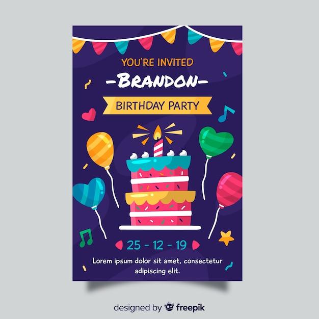 Шаблон приглашения на день рождения для детей Бесплатные векторы