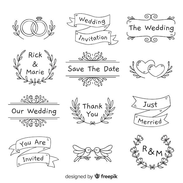 Коллекция рисованной свадебного орнамента Бесплатные векторы