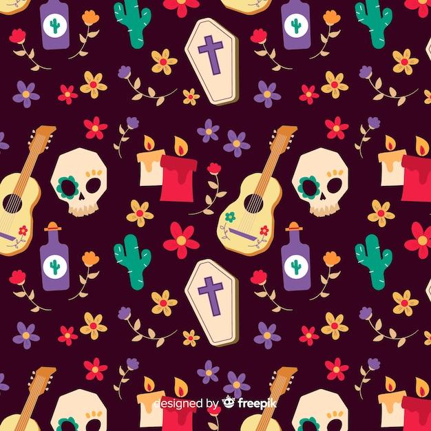 頭蓋骨とギターのシームレスパターンの手でデザインを描画 無料ベクター