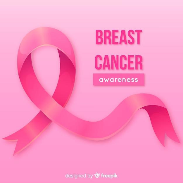 乳がん啓発のための現実的なピンクのリボン 無料ベクター