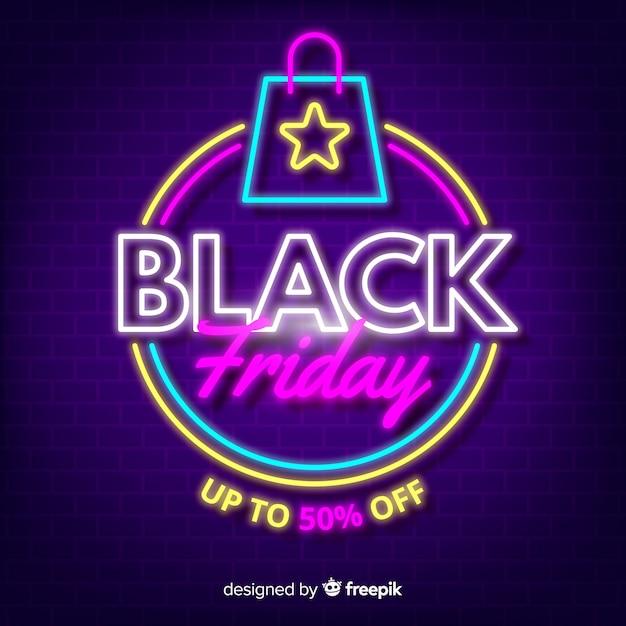 ショッピングカートと黒い金曜日ネオン 無料ベクター