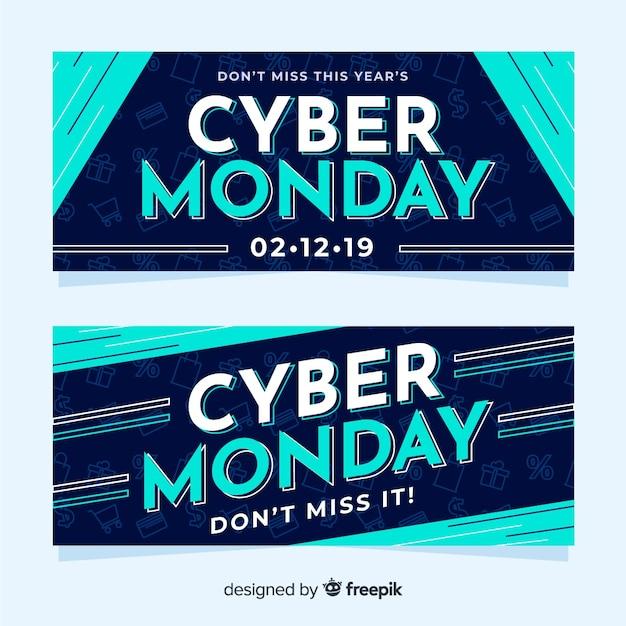 Плоские кибер понедельник баннеры в градиенте синего Бесплатные векторы