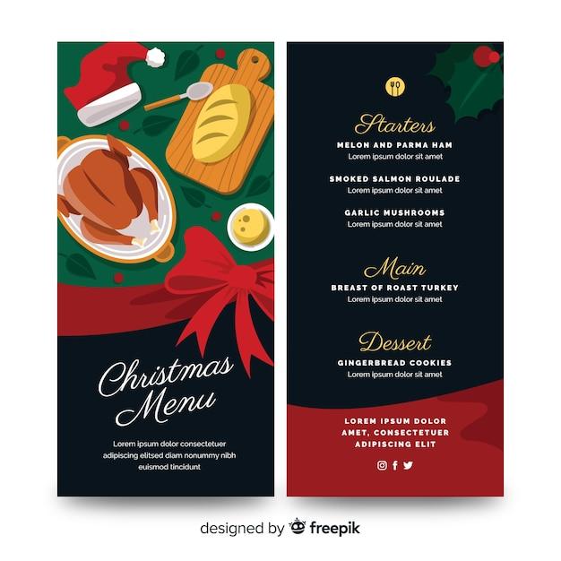 Плоский рождественский шаблон меню и приготовленная индейка Бесплатные векторы