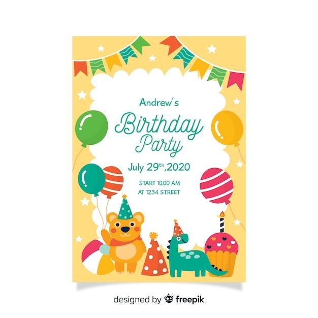 幼稚な誕生日の招待状のテンプレート 無料ベクター
