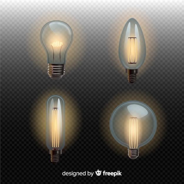 Набор реалистичных лампочек Бесплатные векторы