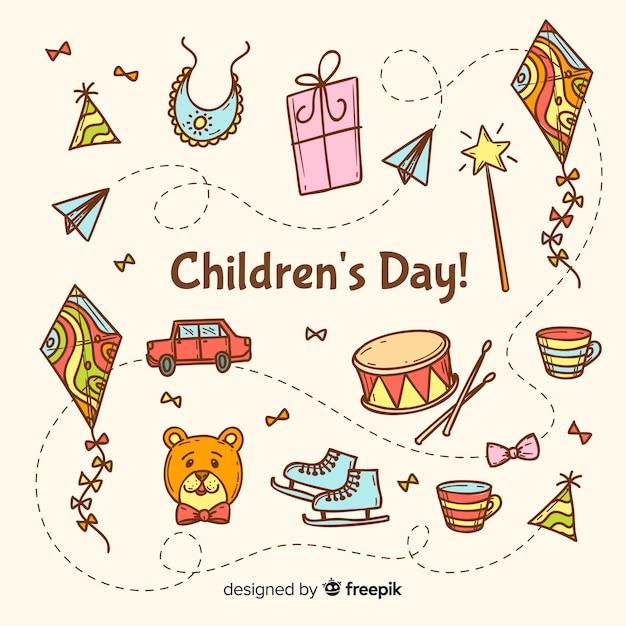 芸術的なイラストで子供の日のお祝い 無料ベクター