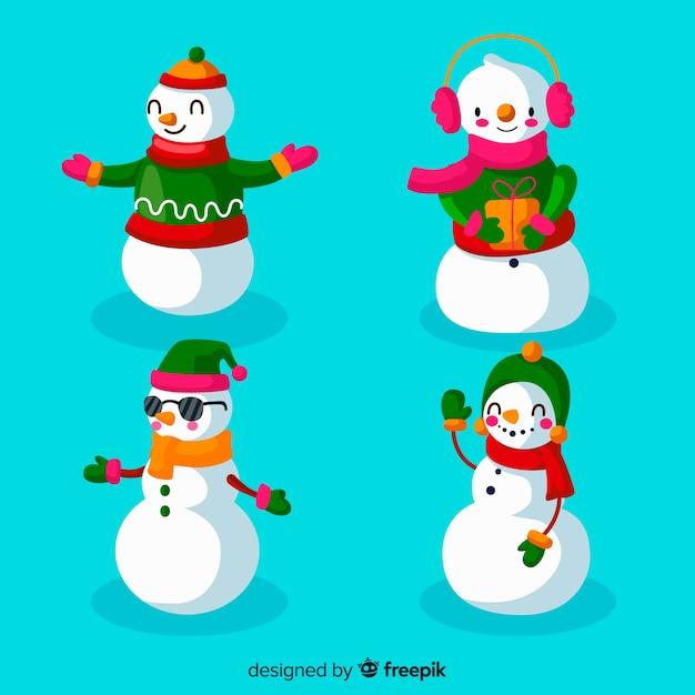 フラットなデザインの雪だるまキャラクターコレクション 無料ベクター