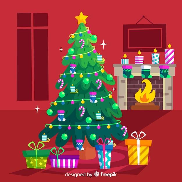 フラットなデザインのカラフルなクリスマスツリー 無料ベクター