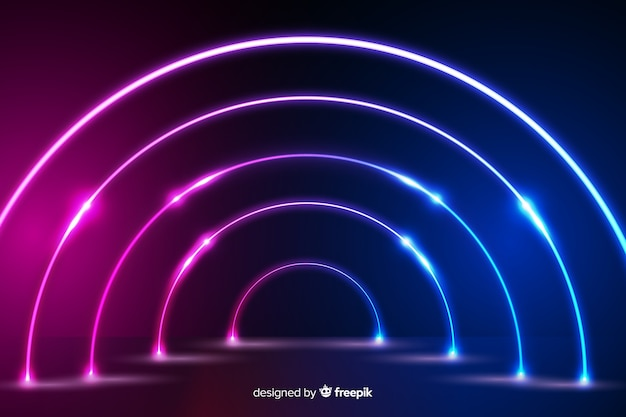 Неоновые огни стадии дизайн фона Бесплатные векторы