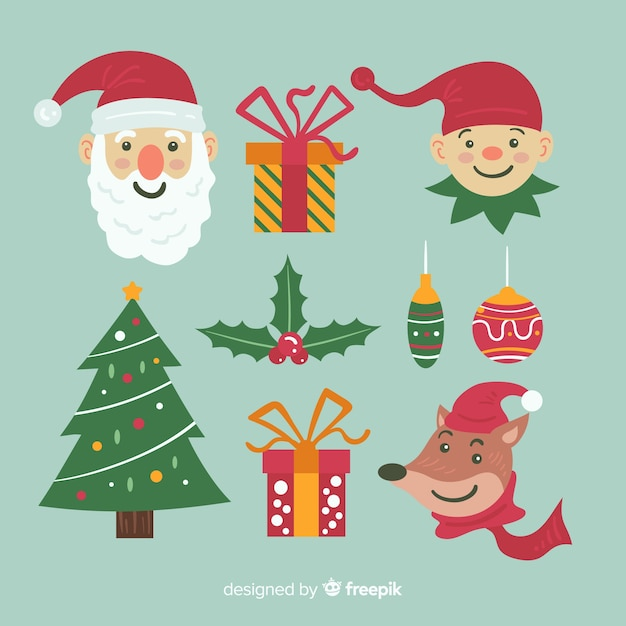 フラットなデザインのクリスマス要素のコレクション 無料ベクター