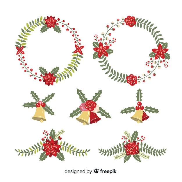 Рождественская коллекция цветов и венков в плоском дизайне Бесплатные векторы