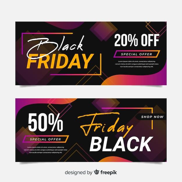 Красочные баннеры черная пятница в плоском дизайне Бесплатные векторы