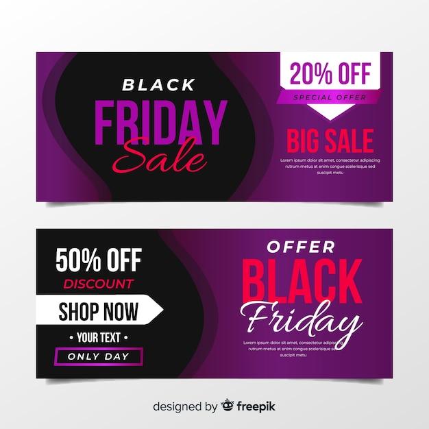 Фиолетовые черные баннеры пятницы в плоском дизайне Бесплатные векторы
