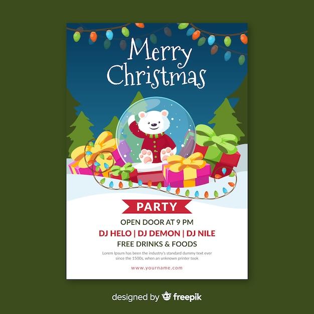 Веселая рождественская вечеринка постер в плоский дизайн Бесплатные векторы