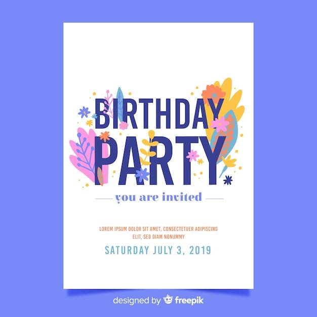 誕生日の招待状花テンプレート 無料ベクター