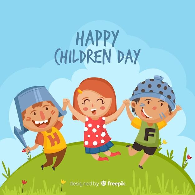 Красочная группа детей на детский день иллюстрации Бесплатные векторы