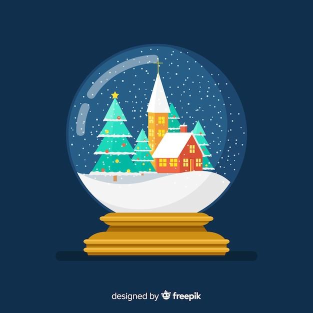 Рождественский шар снежка в плоском дизайне Бесплатные векторы